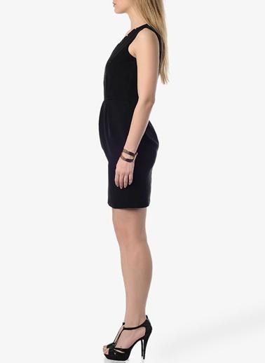 Limon Company V Yaka Dar Mini Elbise Siyah